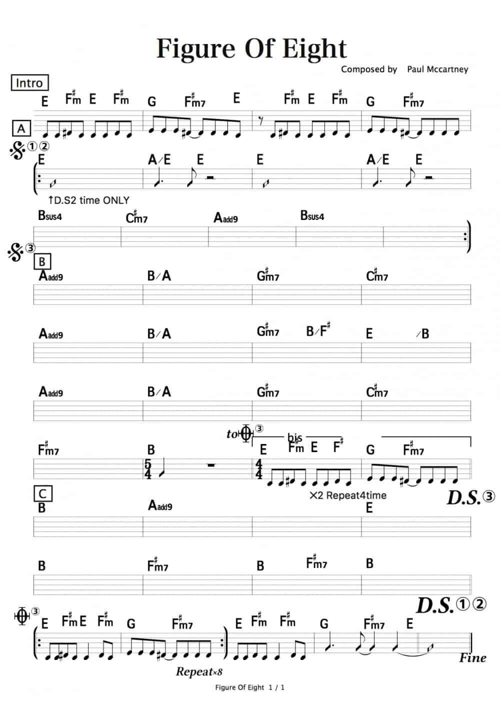 Figure Of Eight(Paul McCartney)マスターリズム譜