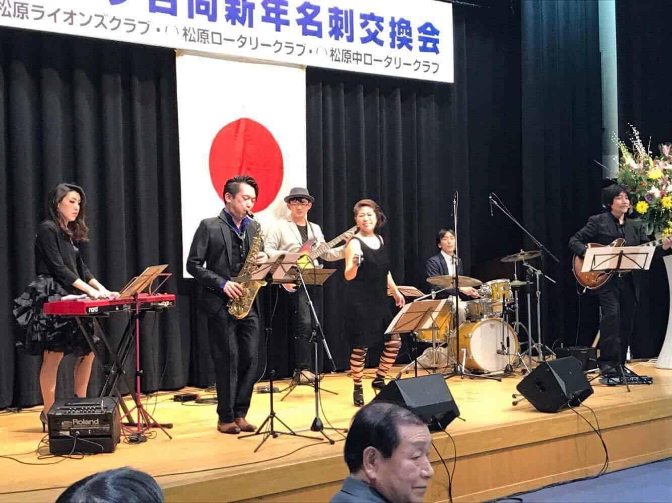 松原商工会議所にてライオンズクラブ・ロータリークラブの互礼会演奏でした。