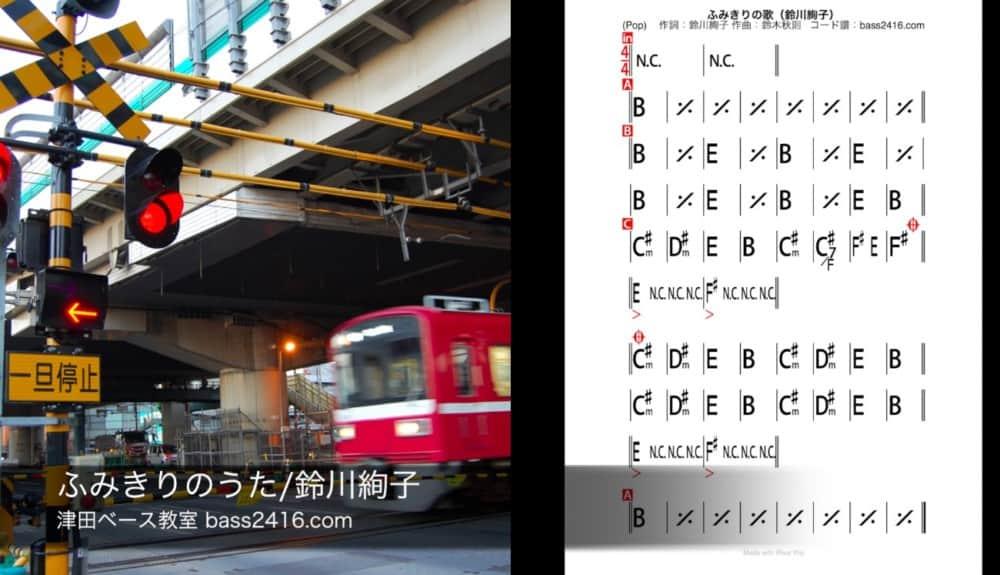「ふみきりのうた/鈴川絢子さん」の(楽譜:コード譜)をiRealProで作ってみた